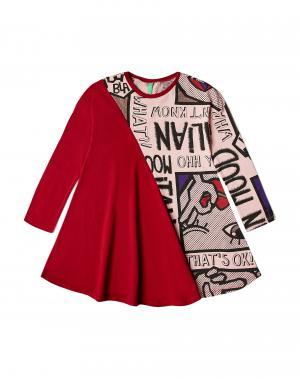 Платье Benetton. Цвет: красный