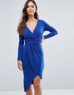 Wal G Асимметричное платье. Цвет: синий