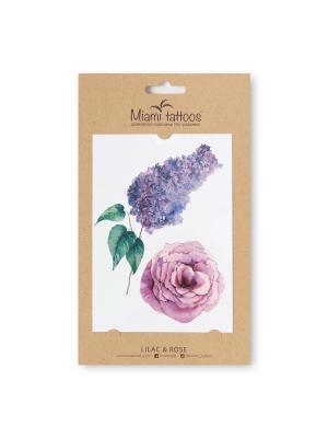 Акварельные переводные тату Miami Tattoos Lilac & Rose. Цвет: зеленый, сиреневый, фиолетовый, бледно-розовый