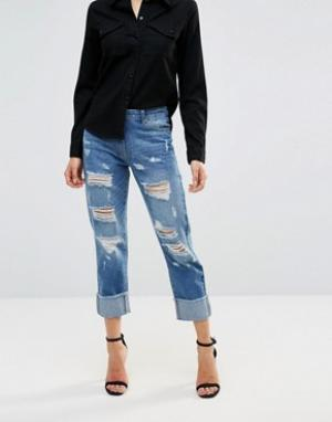 Parisian Рваные джинсы бойфренда с отворотами. Цвет: синий