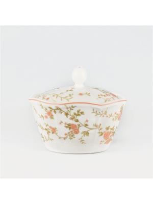 Сахарница 340мл Садовая Роза Quality Ceramic. Цвет: молочный