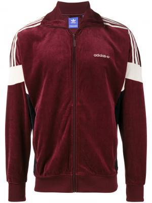 Велюровая спортивная куртка CLR84 Adidas Originals. Цвет: розовый и фиолетовый