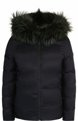 Двусторонняя стеганая куртка с меховой отделкой капюшона Fendi. Цвет: темно-зеленый