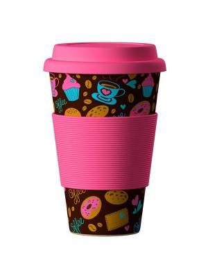 Бамбуковая эко-термокружка Пончики BambooCup Areon. Цвет: темно-коричневый, розовый