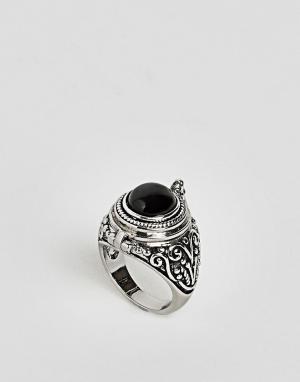Rock 'N' Rose Кольцо с черным ониксом N. Цвет: серебряный