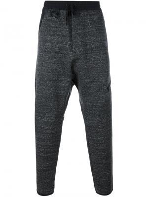 Зауженные меланжевые спортивные брюки Y-3. Цвет: чёрный