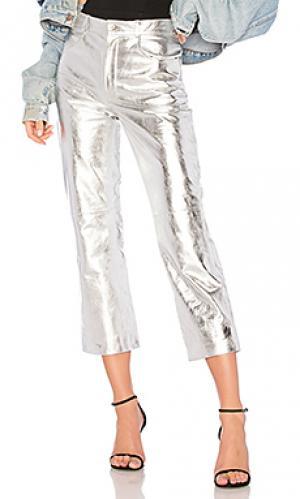 Кожаные брюки 297 LPA. Цвет: серебряный
