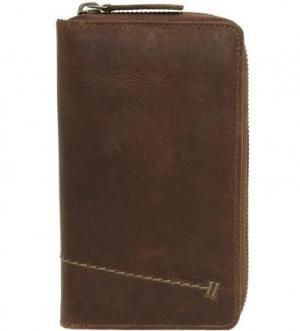 Коричневый кожаный кошелек aunts & uncles. Цвет: коричневый