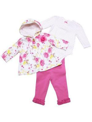 Комплект из 3-х предметов для девочки Роза. Жакет с капюшоном, легинссы и боди рукавом. Little Me. Цвет: розовый, белый