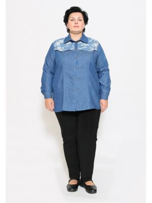 Блузка EVGENIA STYLE. Цвет: синий, молочный