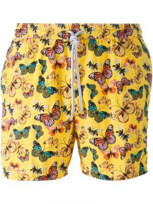 Плавательные шорты с принтом бабочек Capricode. Цвет: жёлтый и оранжевый