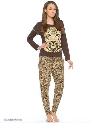 Пижама NICOLETTA. Цвет: коричневый, бежевый