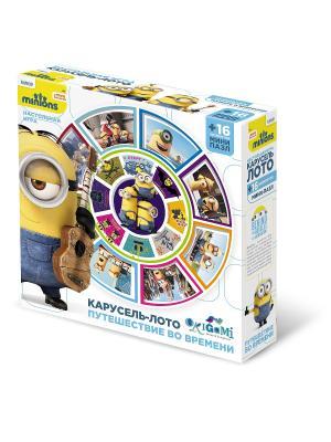 Minions. Настольная игра: Карусель - лото в подарок пазл 16 элементов. Minions. Цвет: желтый, синий, голубой