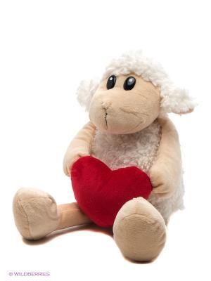 Игрушка Овечка с красным сердечком, 22 см. Gulliver. Цвет: молочный