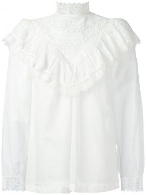 Блузка с вышивкой и оборками Masscob. Цвет: белый