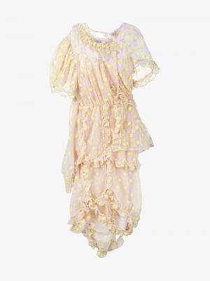 Платье с цветочной вышивкой и рюшами Simone Rocha. Цвет: розовый и фиолетовый