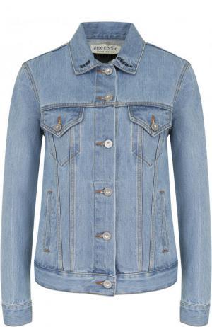 Джинсовая куртка с декорированной спинкой и потертостями Etre Cecile. Цвет: голубой