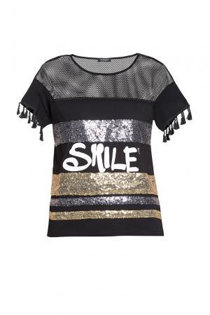 Блуза из хлопка расшитая пайетками 186249 Cristina Effe. Цвет: разноцветный