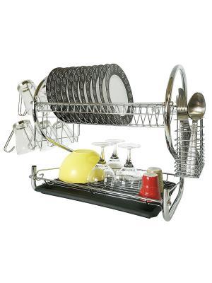 Tatkraft Helga Двухуровневая хромированная сушилка для посуды. Цвет: серебристый