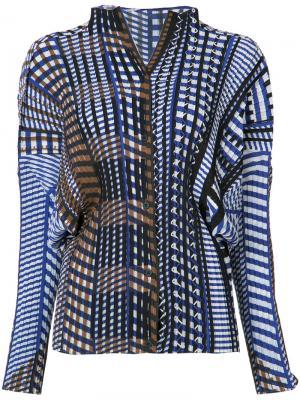 Блузка с геометрическим принтом Issey Miyake. Цвет: коричневый
