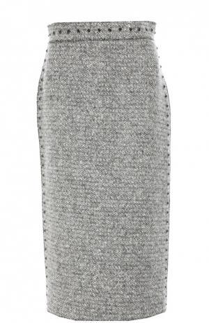 Шерстяная юбка-карандаш с заклепками Valentino. Цвет: белый