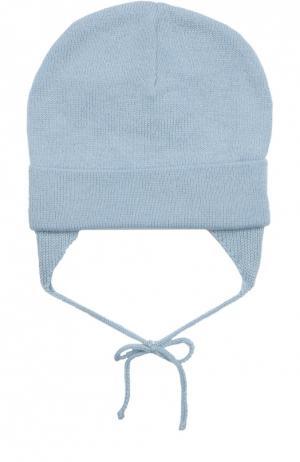 Вязаная шапка из шерсти Il Trenino. Цвет: голубой