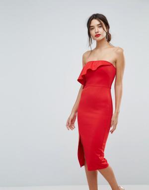 True Violet Структурированное платье-бандо с оборкой и разрезом сбоку. Цвет: красный