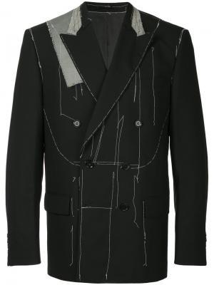 Пиджак с открытой строчкой Consistence. Цвет: чёрный