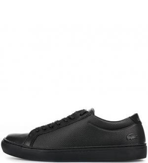Черные кожаные кеды с вкладной стелькой Lacoste. Цвет: черный