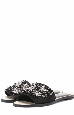 Текстильные сабо с кристаллами Lanvin. Цвет: черный
