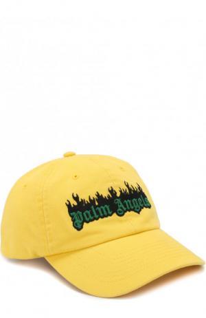 Хлопковая бейсболка с логотипом бренда Palm Angels. Цвет: желтый