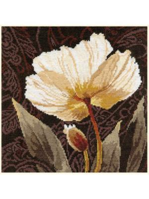 Набор для вышивания Белые цветы: Залитый светом  25х25 см Алиса. Цвет: бежевый, белый, коричневый, светло-коричневый, светло-серый, серо-коричневый, серый, темно-коричневый, темно-синий