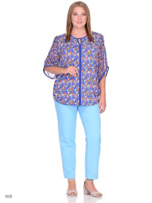 Блузка МариЧи. Цвет: синий, оранжевый