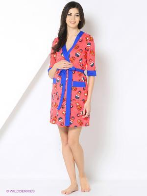 Комплект для беременных и кормления ( халат, ночная сорочка) 40 недель. Цвет: синий