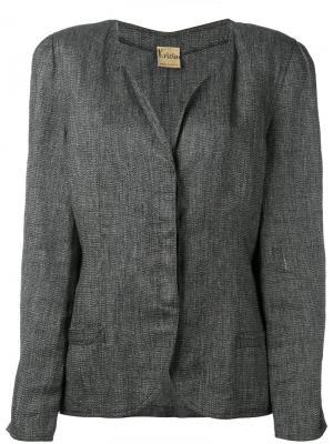 Пиджак без воротника с подвернутыми лацканами Krizia Vintage. Цвет: серый