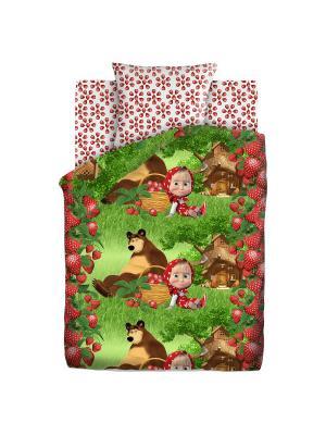 Комплект постельного белья 1,5 бязь Клубничный урожай Маша и медведь. Цвет: зеленый, красный
