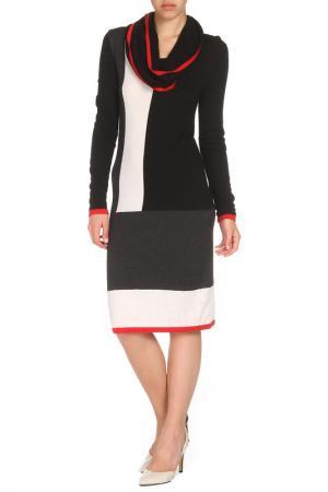 Платье с шарфом Apanage. Цвет: черный, белый