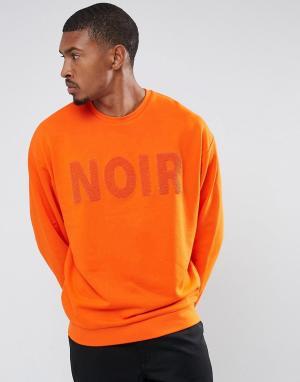 ASOS Oversize-свитшот с вышивкой. Цвет: оранжевый