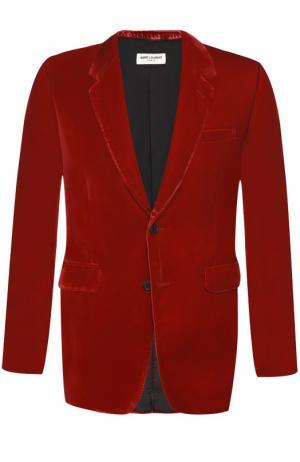 Бархатный однобортный пиджак Saint Laurent. Цвет: красный