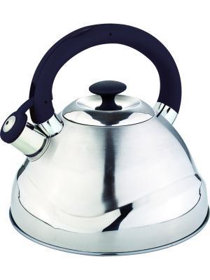 Чайник со свистком 3.0л. С силиконовой ручкой RAINSTAHL. Цвет: черный