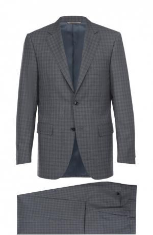 Шерстяной костюм с пиджаком на двух пуговицах Canali. Цвет: серый