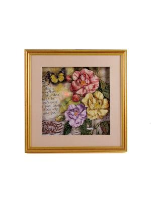 Картина-коллаж 3D Летний сад 35*35*3см Русские подарки. Цвет: оливковый, сиреневый, светло-оранжевый, светло-коралловый, темно-бежевый