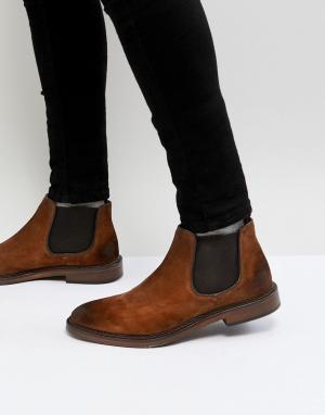WALK LONDON Светло-коричневые замшевые ботинки челси Darcy. Цвет: рыжий