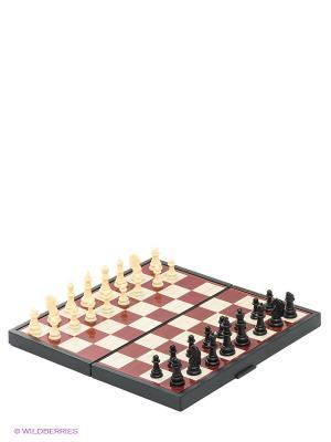 Шахматы магнитные Играем вместе 4 в 1 (шахматы, шашки, нарды, карты). Цвет: коричневый, желтый