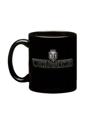 Кружка керамическая, 3D логотип  World of Tanks, черная матовая, 425 мл Tanks. Цвет: черный