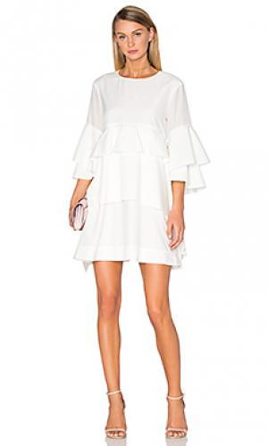 Платье из шелковой смеси foley Acler. Цвет: ivory