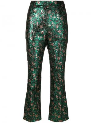 Металлизированные брюки с жаккардовым узором Prada 1TP22107IF11512143463