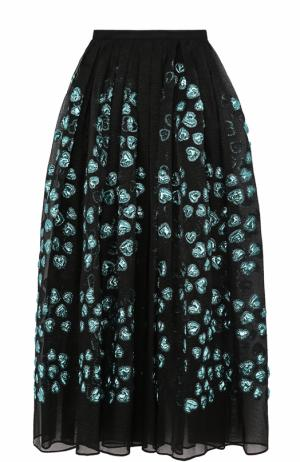 Шелковая юбка-макси с вышивкой Elie Saab. Цвет: разноцветный