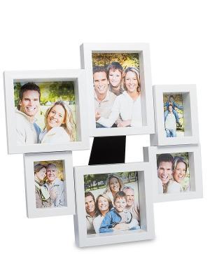 Фоторамка настенная Семейная история на 6 фото Bellezza casa. Цвет: белый