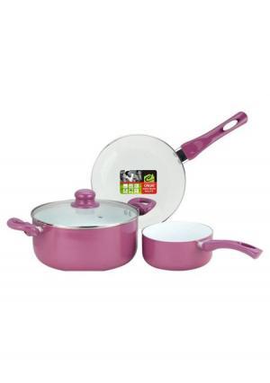 Набор кухонной посуды с керамическим покрытием (4 пр.) CALVE. Цвет: розовый (розовый)